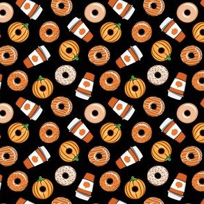 (extra small scale) Coffee and Fall Donuts - PSL pumpkin fall donuts toss - black - LAD19BS