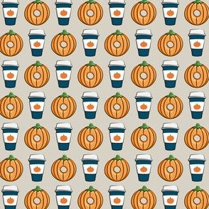 (extra small scale)  Coffee and Donuts - PSL pumpkin fall donuts - blue - LAD19BS
