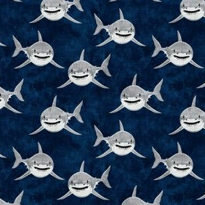 (small scale) sharks - sharks on navy - great white - LAD19BS