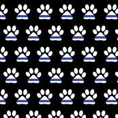 (small scale) K-9 unit Thin blue line - police dog paw on black - LAD19BS