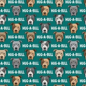 "(3/4"" scale) Hug-a-bull - pit bulls - American Pit Bull Terrier dog - teal - LAD19BS"