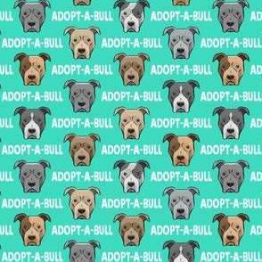 """(3/4"""" scale) Adopt-a-bull - pit bulls - American Pit Bull Terrier dog - teal - LAD19BS"""