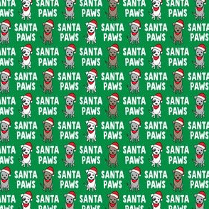 """(3/4"""" scale) Santa Paws - cute holiday pit bulls - Christmas dog - green - LAD19BS"""