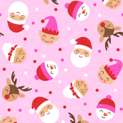 "(3/4"" scale) holiday gang - cute Christmas fabric - santa, mrs. claus, reindeer, snowman, elf - pink on pink - LAD19BS"