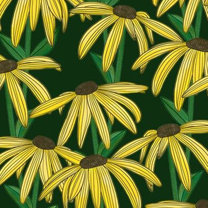 Yellow Daisy (Dark Green Background)