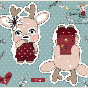 Cut _ SEW FAT QUARTER - REINDEER RASCALS PLUSHIE - MRS PRETTY final