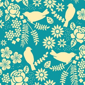 Birds and Flowers Cut Out (Cream and Blue)