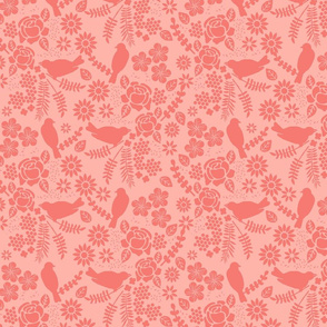 Birds and Flowers Cut Out (blush pink)