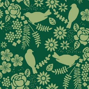 Birds and Flowers Cut Out (Green)
