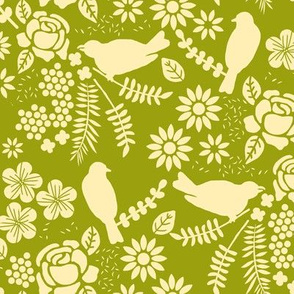 Birds and Flowers Cut Out (Olive and Light Yellow)