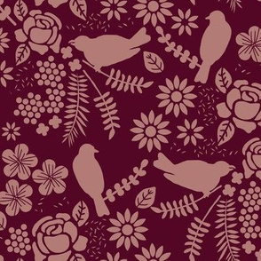 Birds and Flowers Cut Out (Burgandy and Red)