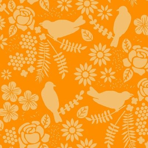 Birds and Flowers Cut Out (Orange and Lemon) orange