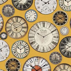 Vintage Clocks mustard yellow