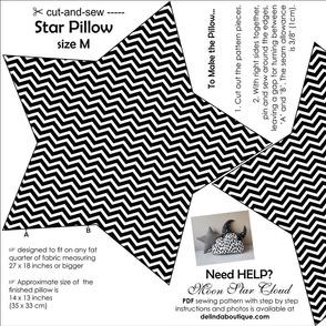 Star Pillow Medium Size cut and sew white black chevron