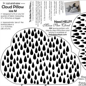 Cloud Pillow Medium Size cut and sew white black rain drops