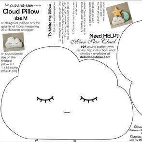 Cloud Pillow Medium Size cut and sew white black