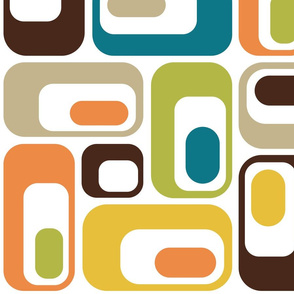 retro ovals white mustard teal orange green brown beige