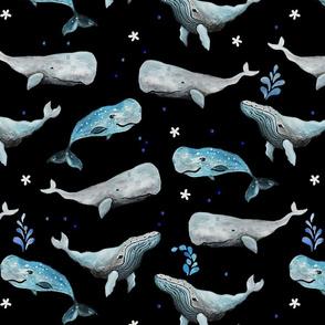 Swimming Whales Dark Ground (Medium Scale)