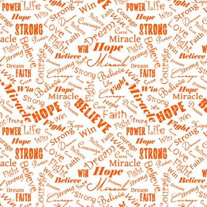 Small Scale Cancer Positive Words - Oranges