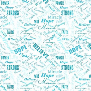Small Scale Cancer Positive Words - Teal