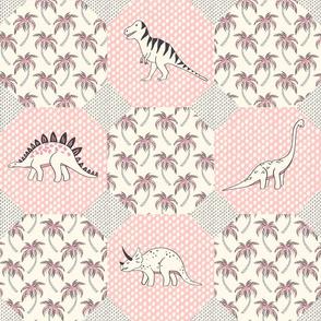 dinosaur quilt - pink