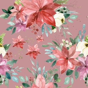 Merry Watercolor Florals // Dusty Pink