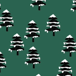 Woodland forest adventures snow winter wonderlands Christmas trees pine trees woods forest green black