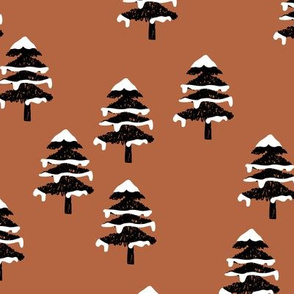Woodland forest adventures snow winter wonderlands Christmas trees pine trees woods ginger cinnamon brown