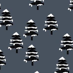 Woodland forest adventures snow winter wonderlands Christmas trees pine trees woods cool dark blue black