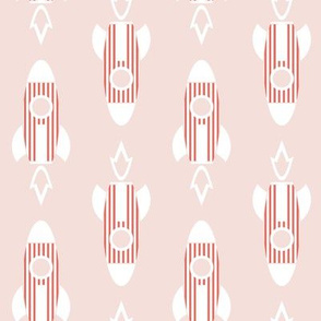 Rocket Stripe- Red and White on Pink