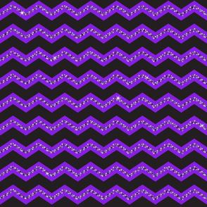 Glitter Chevron - Purple - Black Glitter