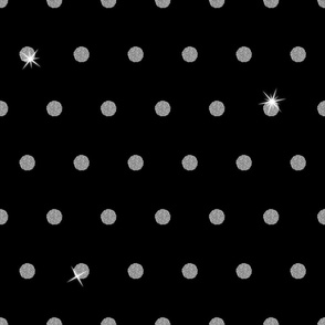 Spooky Glitter Polka Dot - Silver and Black
