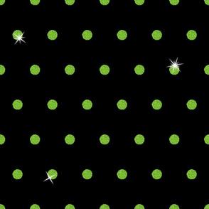 Spooky Glitter Polka Dot - Green and Black
