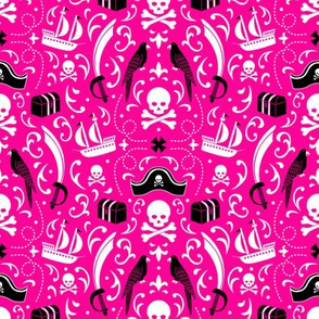 A Pirate's Life Damask (Hot Pink)