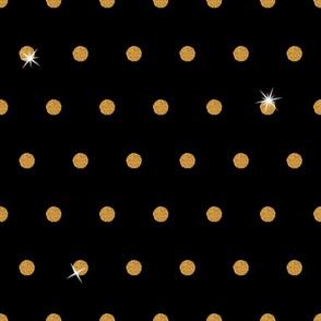 Spooky Glitter Polka Dot - Orange and Black 1