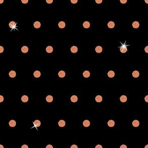 Spooky Glitter Polka Dot - Orange and Black 2