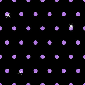 Spooky Glitter Polka Dot - Purple and Black