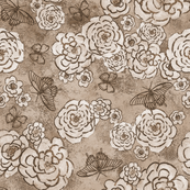 Roses and butterflies, sepia, large