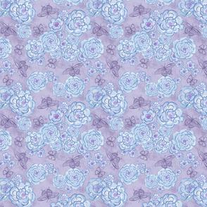 Roses and butterflies, blue violet, medium