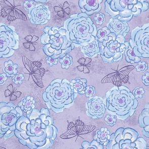 Roses and butterflies, blue violet, large