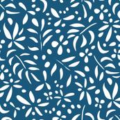 Damask Inspired: White on Dark Blue