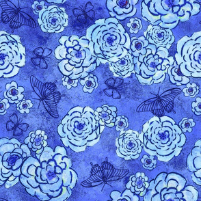 Roses and butterflies, blue, large