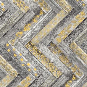Vintage Wood Chevron Tiles Herringbone  Warm Yellow and Grey Horizontal