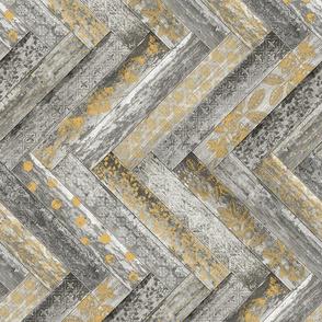 Vintage Wood Chevron Tiles Herringbone  Mustard and Grey Horizontal