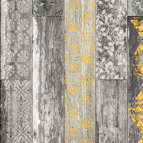 Vintage Wood Tiles Herringbone  Warm Yellow and Grey RANDOM