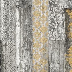 Vintage Wood Tiles Herringbone  Mustard and Grey RANDOM