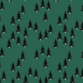 Sweet minimal style pine tree forest scandinavian woodland mountain theme Christmas green white