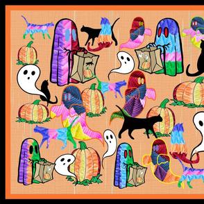 Halloween Otomi Quilt Orange 2