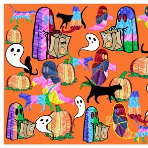 Halloween Otomi Quilt Orange 3