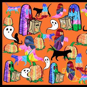 Halloween Otomi Quilt Orange 1